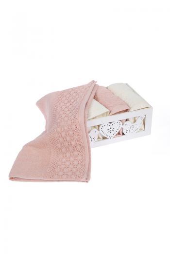 c4cdad7d34e Хавлии - Комплект памучни кърпи, 50x90 - 4 бр. крем - розов, в кутия